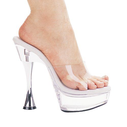 ELLIE CVANITY 6 Silver Cone Heel Clear Mule  Clear 5 Size -- Find out more about the great product at the image link.