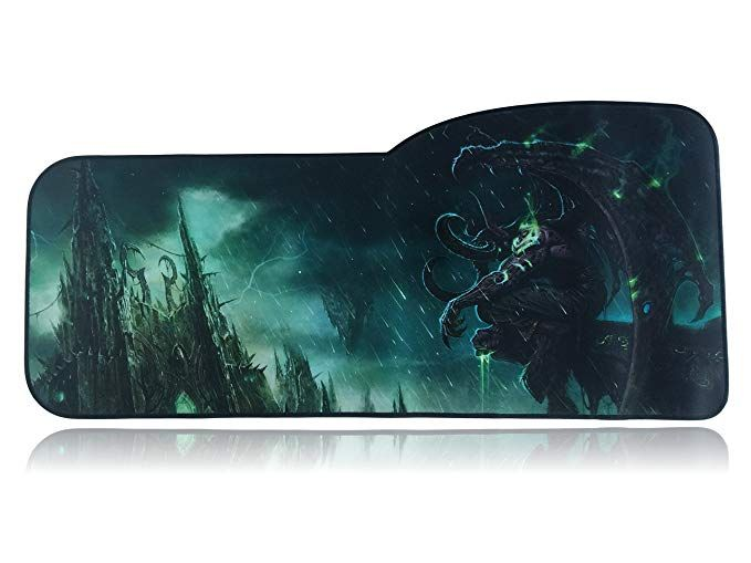Large Desk Mat World of Warcraft Extended Size Custom Professional Gaming Mouse Pad 28.5 x 12.75 x 0.12 Curve, The Lich King Anti Slip Rubber Base Stitched Edges