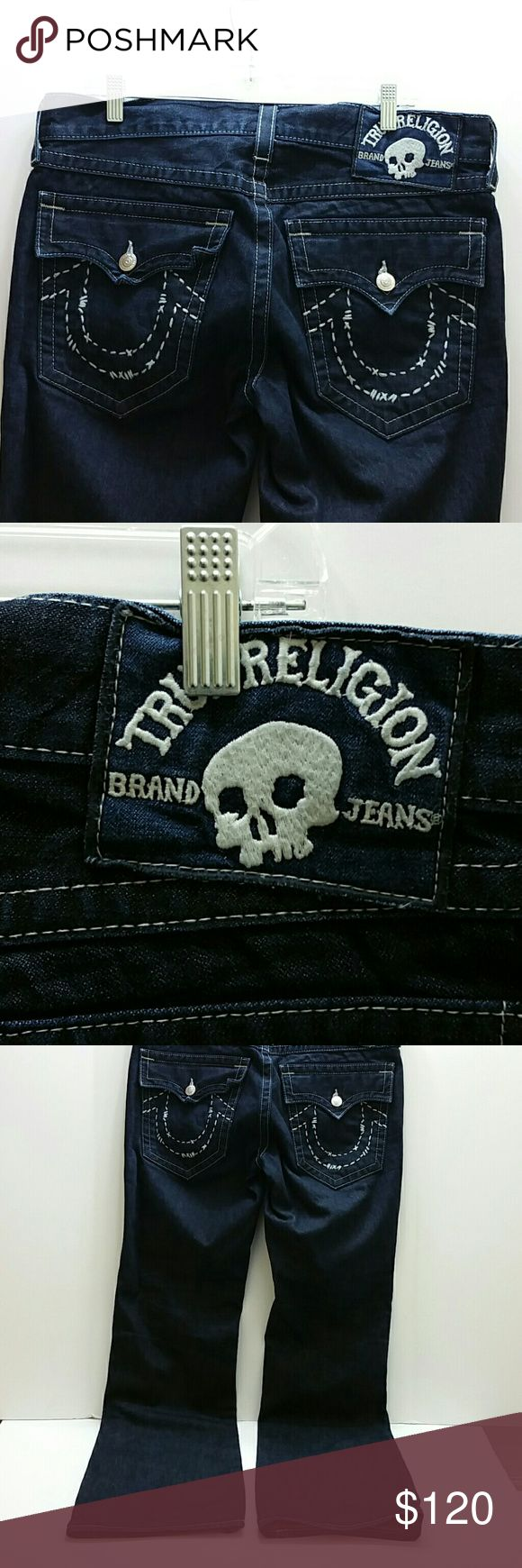 TRUE RELIGION MEN'S JEANS VERY CLEAN INSIDE-OUT   BOOT CUT 34?32  MADE IN USA   SKE # VM True Religion Jeans Bootcut