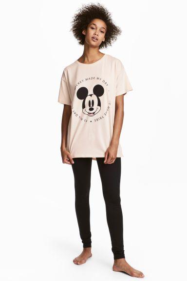 Üst ve Tayt Pijama Takımı - Açık bej/Mickey Mouse - KADIN | H&M TR 1