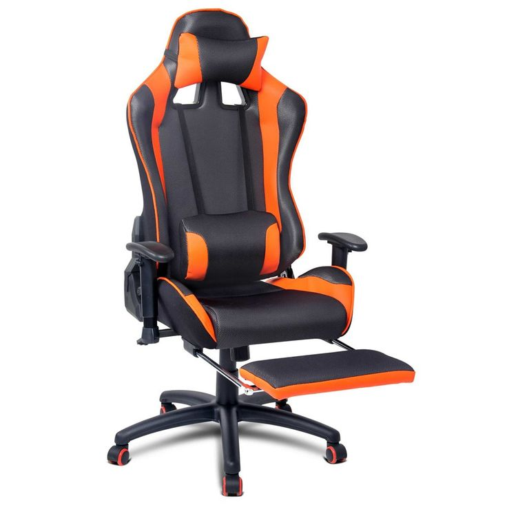 PU Leather & Mesh Reclining Executive Office Chair W/ Footrest Orange/Black