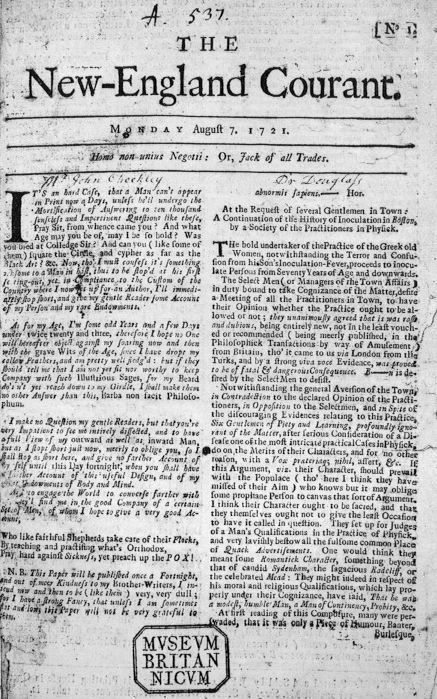 First American Daily Newspaper Began Publication - America's first independent newspaper, the New England Courant, was published by Benjamin Franklin's older brother (1784)