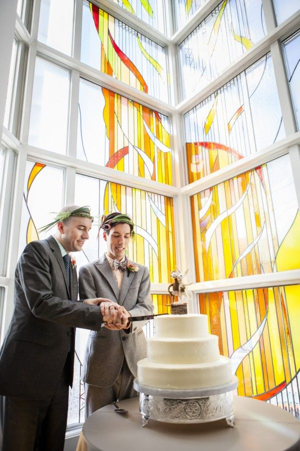First cake cutting, after the ceremony, in the narthex at First Unitarian Congregation of Toronto