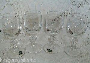 4 alte Klingenbrunn Kristallglas Sherry Gläser schweres Glas TOP Vintage Shabby