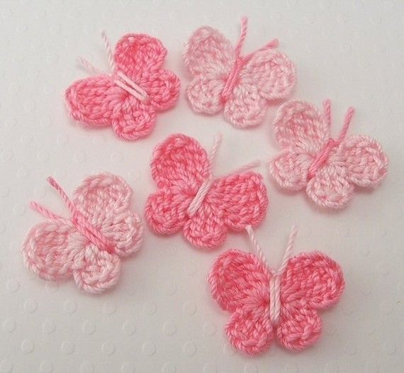 Crocheted Tiny Pink Butterflies by FineThreads on Etsy