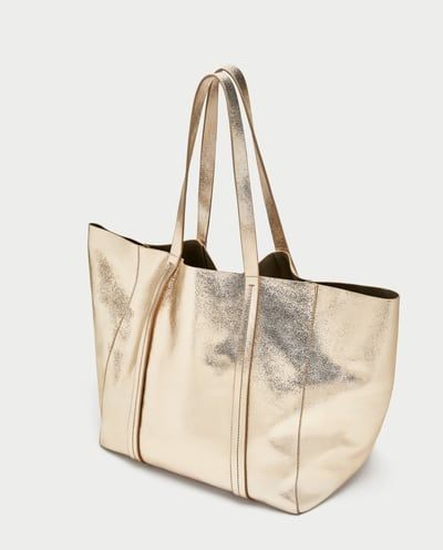 METALLIC LEATHER TOTE BAG-NEW IN-WOMAN | ZARA Spain