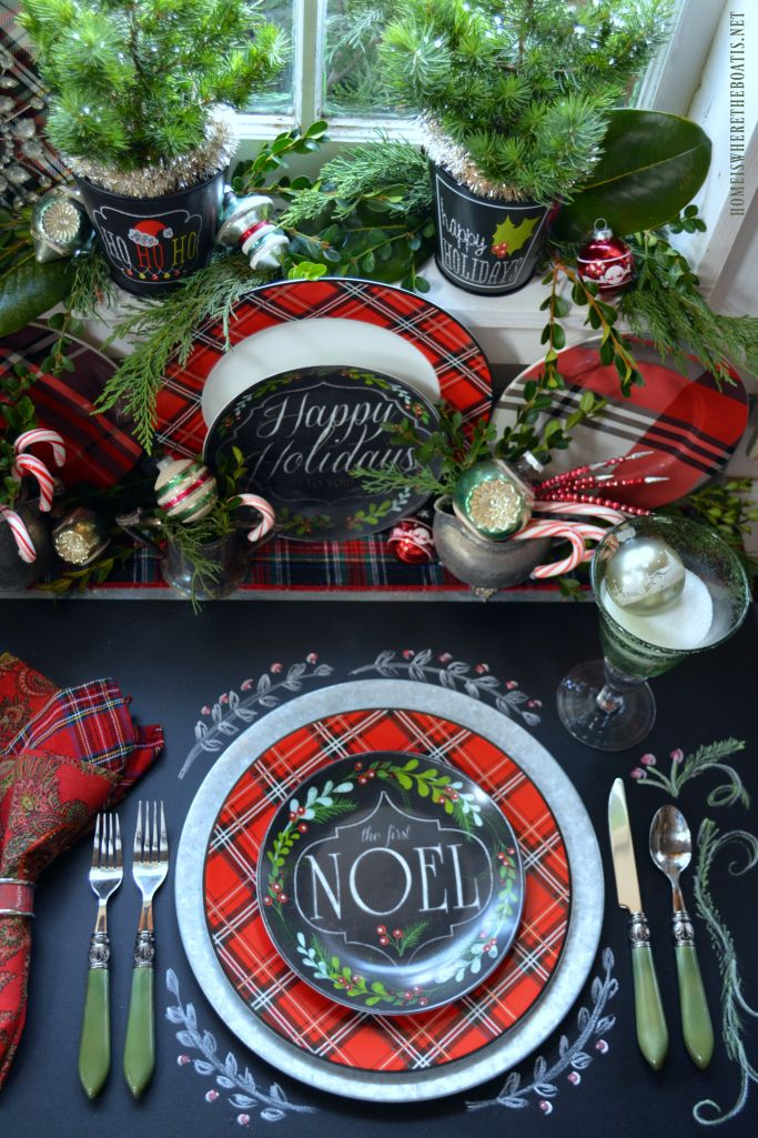 Plaid Tidings Christmas Table with fresh greenery, vintage ornaments and chalkboard runner   homeiswheretheboatis.net #tartan #pottingshed