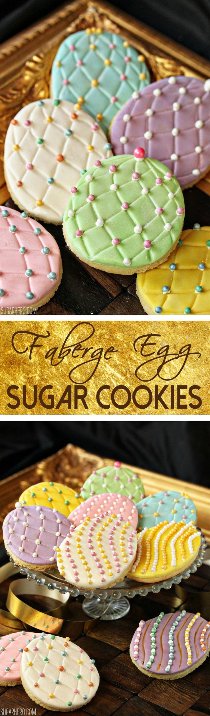 Faberge Egg Sugar Cookies - add some bling to your Easter basket with these gorgeous sugar cookies! | From SugarHero.com