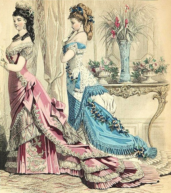 Two alluringly beautifully attired Victorian young ladies. c. 1877