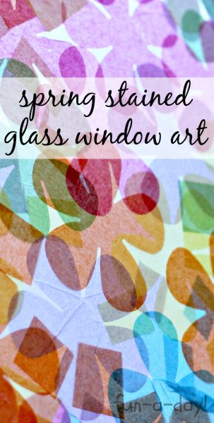 Tissue Paper Stained Glass for Spring - Done 2 Ways