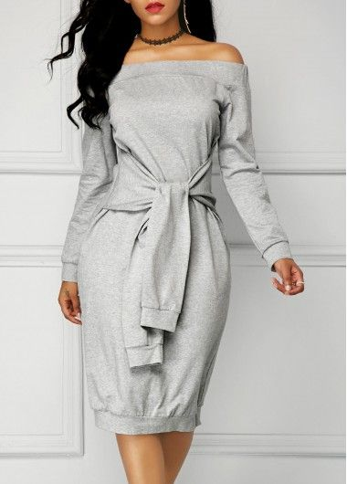 Grey Long Sleeve Tie Front Bardot Dress | Rosewe.com - USD $32.32