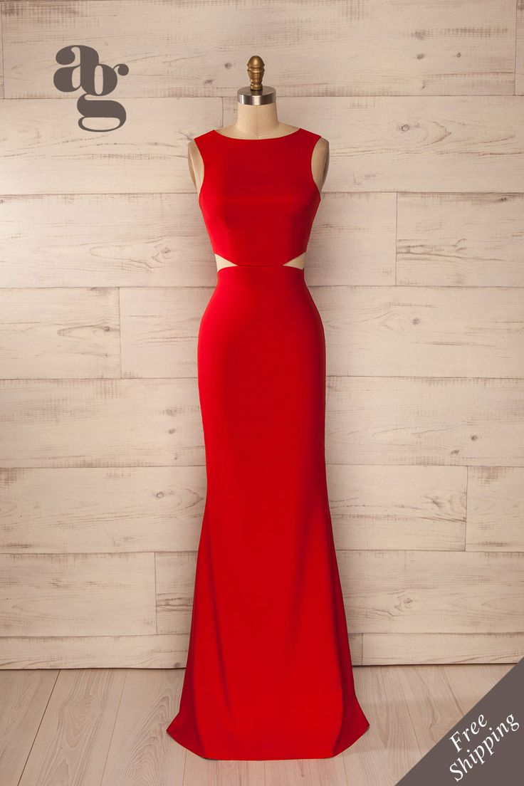 Robe longue soirée rouge découpes taille ajustée - Evening maxi fitted waist cut-outs solid red dress