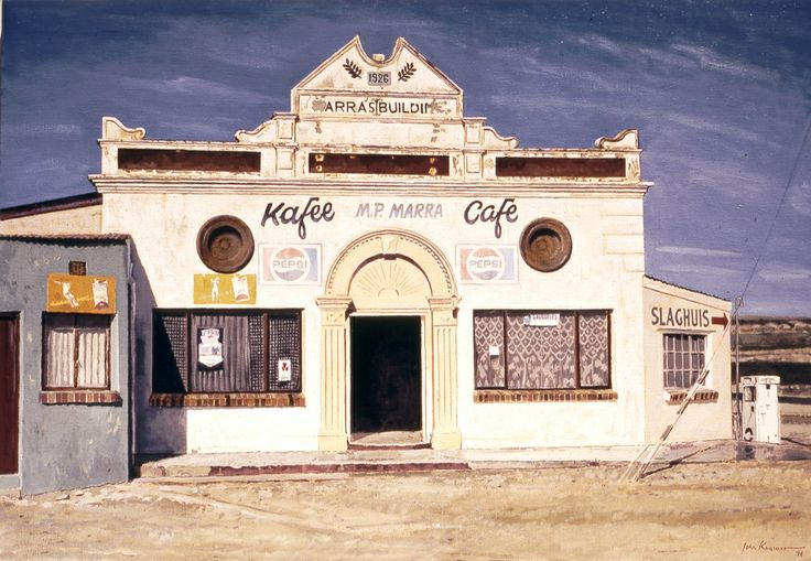 Marras Cafe, Langebaan. Oil on canvas by John Kramer.