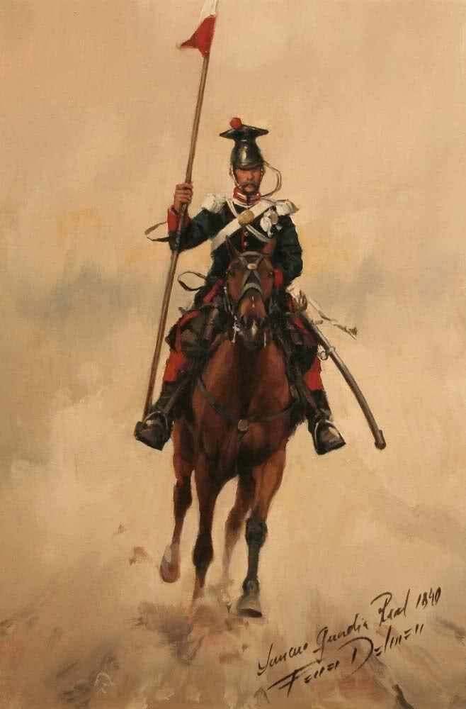 lancero Español de de la Guardia Real 1840 con uniforme de campaña. Ferrer Dalmau. Más en www.elgrancapitan.org/foro