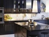 kitchensKitchens Design, Dark Cabinets, Black Cabinets, Black Kitchens, White Subway Tile, Cabinets Design, Ikea Kitchens, Modern Kitchens, Kitchens Cabinets