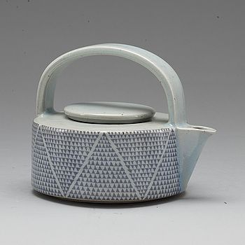 Teapot, earthenware, Signe Persson-Melin, Rörstrand, ,Sweden, Mid-Century