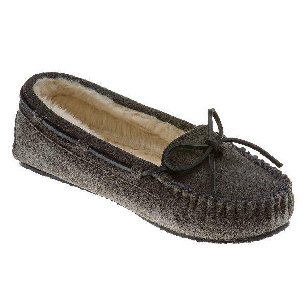 Women's Minnetonka 4015 Calley Grey Suede Comfort Moccasins Size 7 M