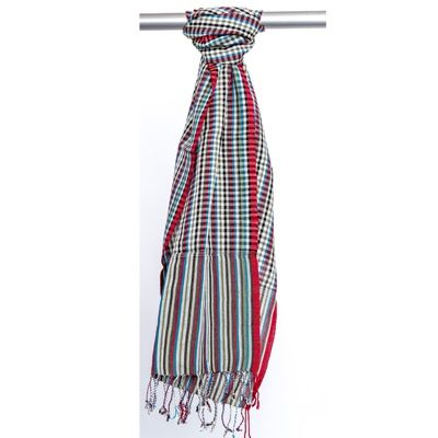 SCARF-CHECK WITH MULTI COLOURED BAND