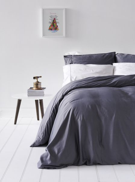Bamboo Bondi Duvet Cover Set   Grey 100% Organic Bamboo Bedding