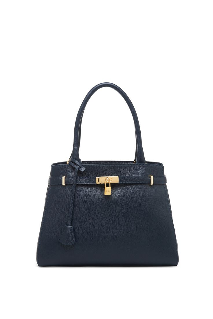 Leather bag with logoed padlock and key attached