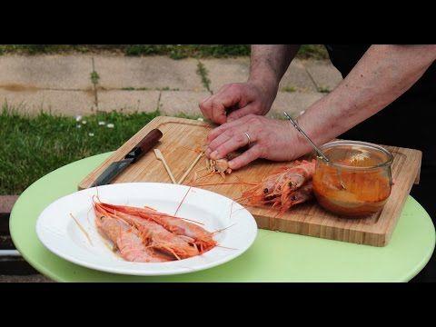 Gambas marinées aux piquillos, Gingembre, Citron, et Curry - Recettes et Cuisine à la Plancha