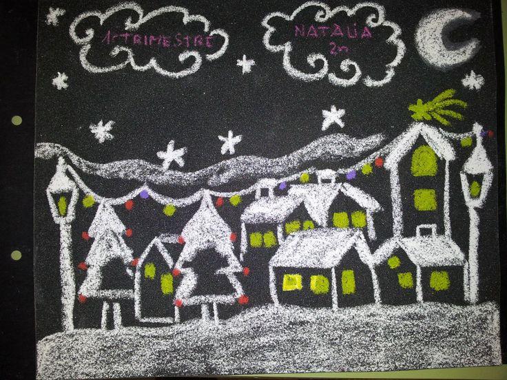 White Chalk Christmas on Black Paper
