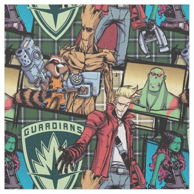 Guardians Of The Galaxy Comic Crew Pattern Fabric Galaxy Comics Fabric Patterns Guardians Of The Galaxy