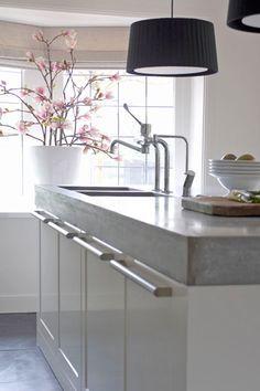 witte keuken met betonnen werkblad - Google zoeken