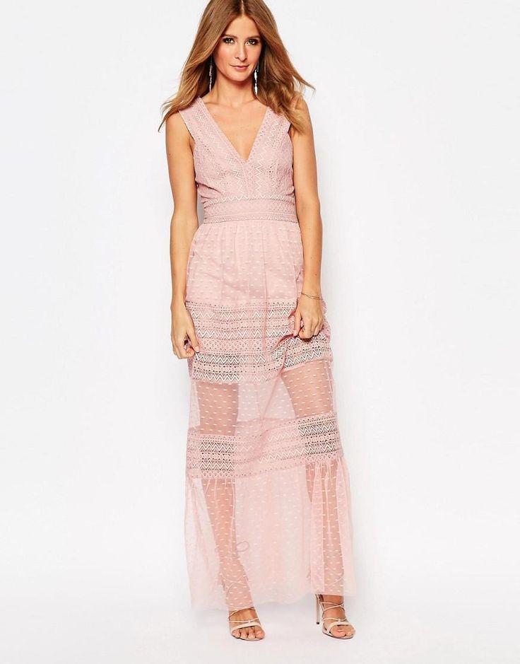 Millie Mackintosh | Millie Mackintosh Plunge Neck Maxi Dress With Sheer Inserts at ASOS