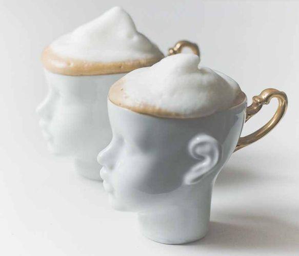 porcelain doll head cappuccino / teacups (Custom made in Poland)