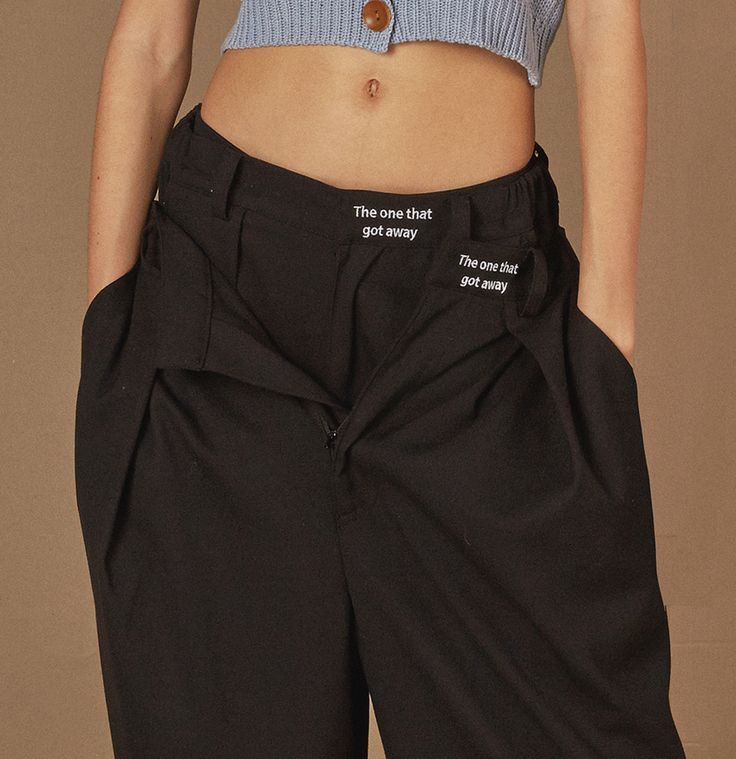 Black wide slacks x2 'The one that got away' #ader#fashion#styling