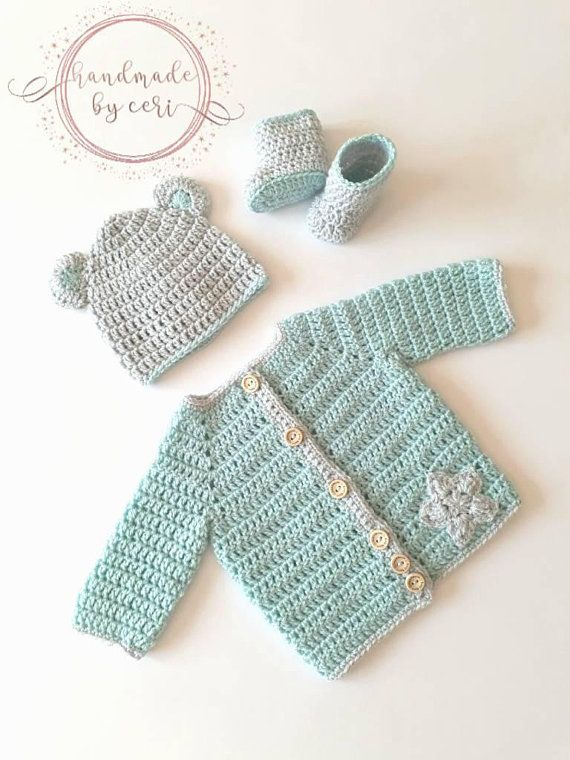 30dbf9e88ea Baby Blue Bear Crochet Cardigan Set - Baby Hat and Booties - Star baby  crochet gift - Baby shower gift ideas - Vegan friendly baby gift set