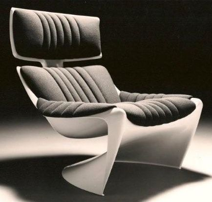 The President Lounge chair 265 was designed in 1968 for CADO, Denmark. It is produced in fiberglass reinforced Poly-amide (Nylon) at Krauss Maffei, Munich, Germany. Produced in 6 colors: Red, white, blue, green, brown and beige and the upholstery in many more colors. Casted in the biggest injection mold in the world. The President Lounge chair figures in many books, magazines and even movies like: Star Trek Captain Kirks apartment in San Francisco 23rd century