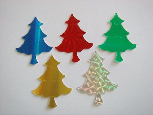 40 Shiny Christmas Tree die cuts for cards toppers holographic card cardmaking scrapbooking craft projects on Etsy, £2.49