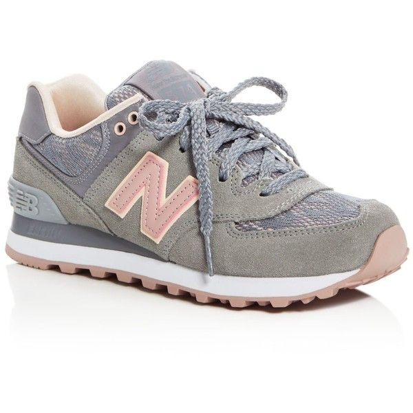 New Balance Women's 574 Nouveau Lace Up Sneakers ($84) ❤ liked on Polyvore featuring shoes, sneakers, shoes - sneakers, steel, lace sneakers, new balance trainers, lacing sneakers, laced shoes and new balance footwear