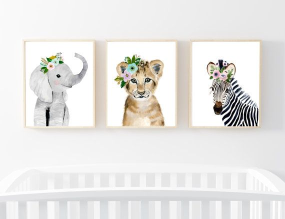 Lets make your little ones room warm and enjoyable!  Set of 3: This set includes portraits of elephant, lion, and zebra.  If, however, youd like to swap any of them for a different piece in my shop, please give me a notice about which animals you want to swap it.   Materials: Printed on beautiful high quality, archival and acid free velvet fine art paper using professional Epson Ultra Chrome inks. Prints will be signed and dated on the back by me.  Size: Available in 4 sizes! (5x7, 8x10…