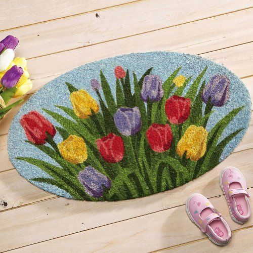 """Oval Tulip Welcome Mat By Collections Etc by Collections. $12.99. Measures 18"""" x 30"""". Oval doormat has stiff coir bristles. Keeps dirt and mud from being tracked indoors. Dresses up your entryway with an exuberant display of color. Welcome guests with a gorgeous display of the season's prettiest blooms. Tulip Welcome Mat: Welcome guests with a gorgeous display of the season s prettiest blooms. Oval doormat has stiff coir bristles that keep dirt and mud from being tracked indoo..."""