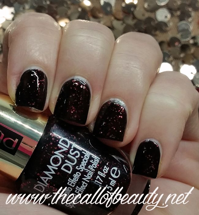 The Call of Beauty: Nail Swatch: Pupa Stay Gold Diamond Dust 001 Glowing Black