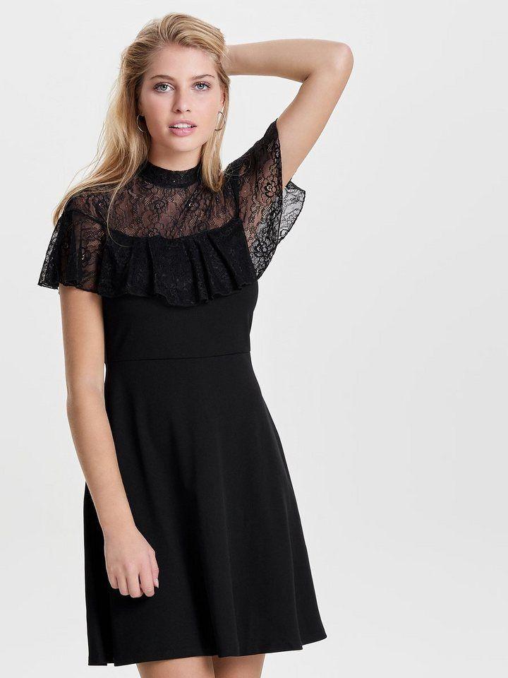 b81c441f7b24d Only Spitzen Kleid mit kurzen Ärmeln für 34,99€. Kleid kurzärmelig,  Stehkragen