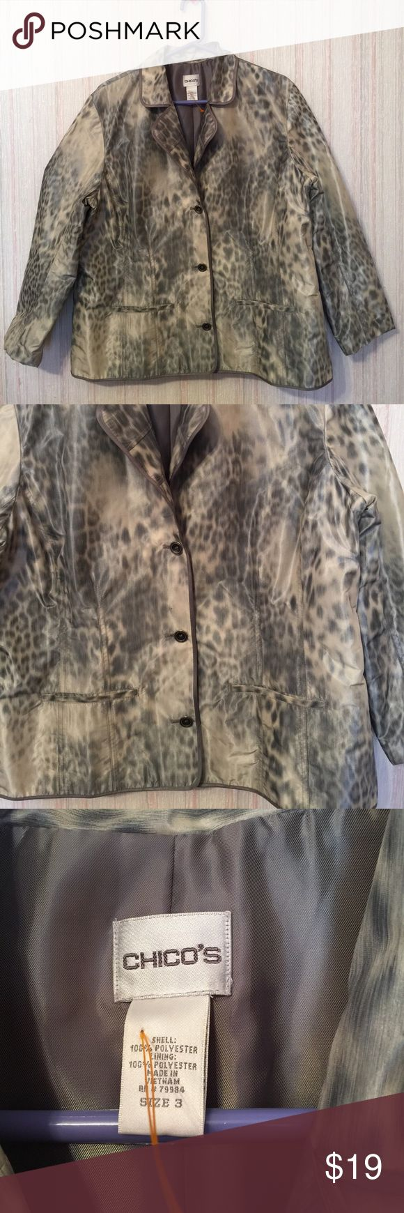 "Chico's Women's Light Wear Blazer Sz Large Lovely Chico's Lighwear Button Down Jacket Cheetah Animal Print Gray 100% Polyester Size Large. Measurement: Sleeves: 22"" Shoulder: 18"" Armpit: 26"" Overall Length: 46"" Condition: Pre-owned, no rips, no holes, clean. In good condition. Chico's Jackets & Coats Blazers"