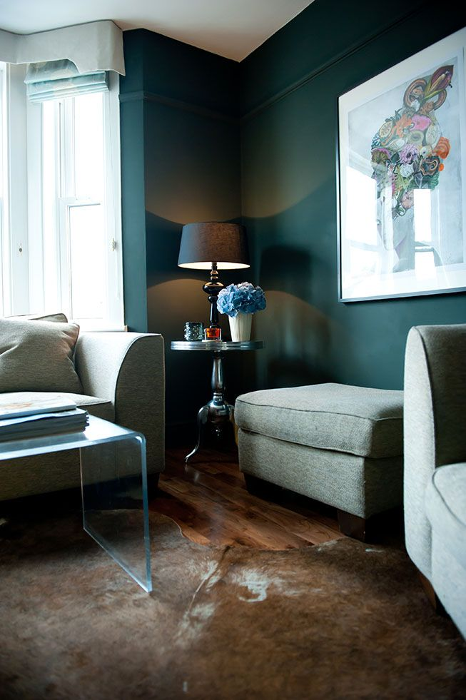 Love this colour for chimney breast or the wall at window end of dining room space... Farrow and Ball's Studio Green