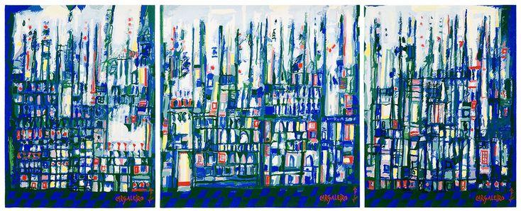 A cidade dos mastros e das caravelas  de Manuel Cargaleiro