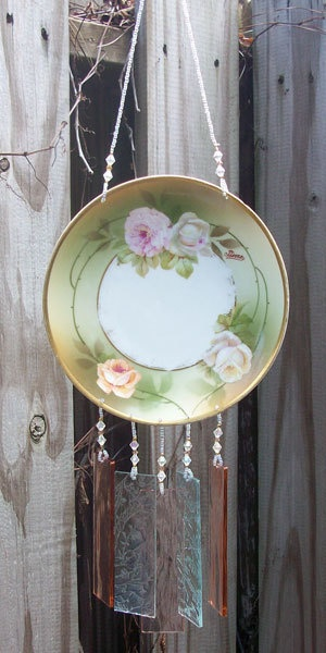 Vintage Bavarian Hand Painted Dish Wind Chime  by hunter5220: Stained Glass