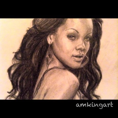 Rihanna in graphite pencils