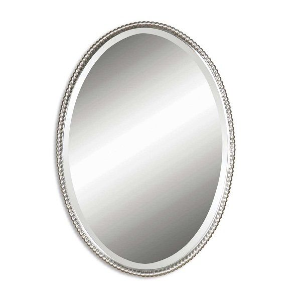 Sherise Oval Mirror.  This oval mirror features a frame made of hand forged metal with a brushed nickel finish. Mirror is bevelled. This mirror may be hung vertical or horizontal.  Designer:Carolyn Kinder  Dimensions:W:56cm x H:81cm x D:5cm  Weight:8kg