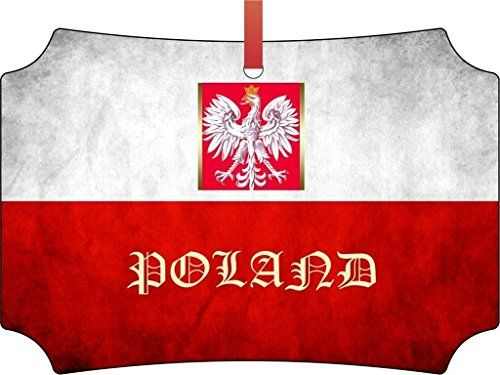 Polish Flag-Poland-Berlin Aluminum Christmas Ornament with a Red Satin Ribbon/Holiday Hanging Tree Ornament/Double-Sided Decoration/Great Unisex Holiday Gift! *** Find out more about the great product at the image link.