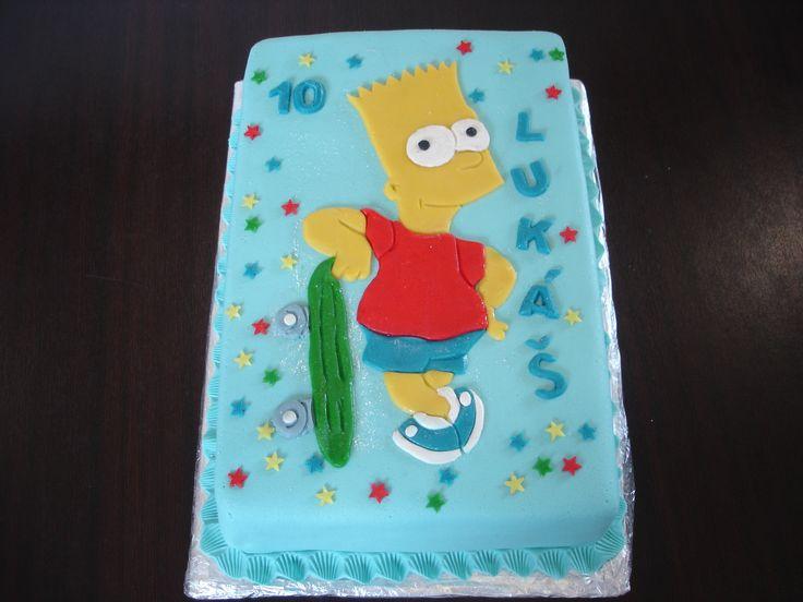 Dort s marcipánovým obrázkem Barta Simpsona. Dort je možné vyrobit v různých velikostech a přizpůsobit se tak vašim požadavkům. Nejmenší velikost je od 2kg. Náplň dle přání zákazníka, seznam náplní naleznete v záložce Cukrárna. Nápis a číslovka na dort je samozřejmostí.