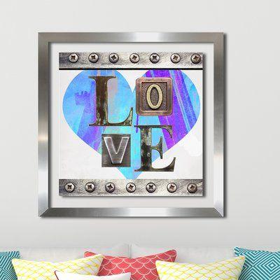 "PicturePerfectInternational 'Love' Graphic Art Print Size: 39.5"" H x 39.5"" W x 0.75"" D, Format: Silver Plexiglass Framed"
