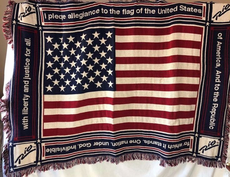 """US Flag with Pledge of Allegiance 46""""x65"""" Blanket The Rio Hotel Las Vegas Nv #TheRioHotelLasVegas #Traditional Relisted 11.16.17"""