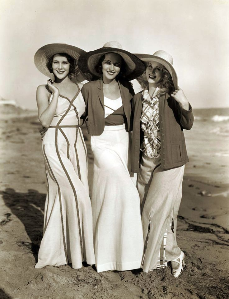 Film players Frances Dee, Adrienne Ames and Judith Wood at the beach in the early 1930s.